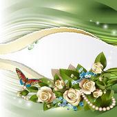Elegant background with beautiful white roses