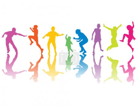 Colorful silhouettes of kids