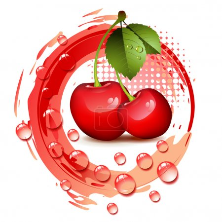 Illustration for Ripe cherry with leafs and drops - Royalty Free Image