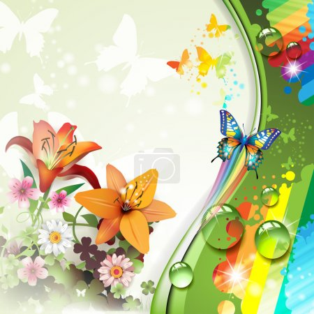 Illustration for Background with lilies and butterflies - Royalty Free Image