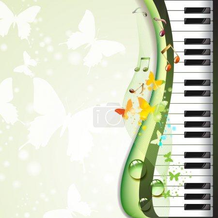 Illustration pour Touches du piano avec des papillons et des gouttes - image libre de droit