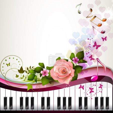 Illustration pour Papillons et les touches du piano avec rose - image libre de droit