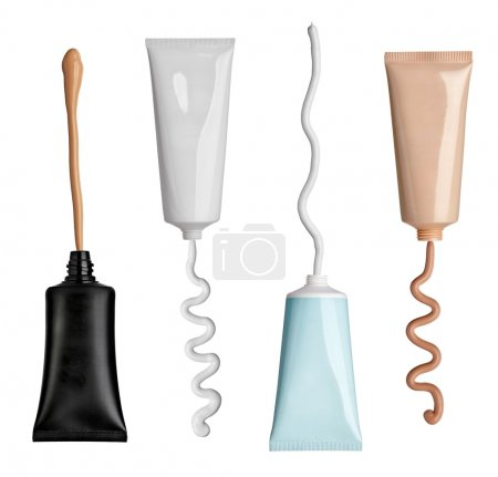 Photo for Collection of various beauty cream and powder strokes and tubes on white background. each one is shot separately - Royalty Free Image
