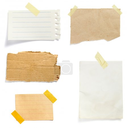 Photo for Collection of old note paper paper on white background. each one is in full cameras resolution - Royalty Free Image