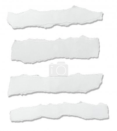 Photo for Collection of white ripped pieces of paper on white background. each one is shot separately - Royalty Free Image