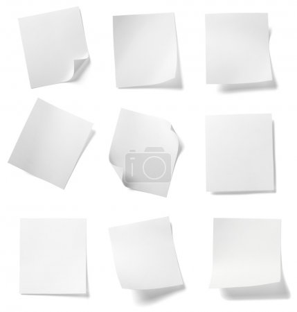 Photo for Collection of various white note papers on white background. each one is shot separately - Royalty Free Image