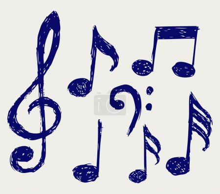 Photo for Musical notes. Sketch - Royalty Free Image