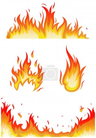 Illustration for Vector set: fire flames - collage - Royalty Free Image