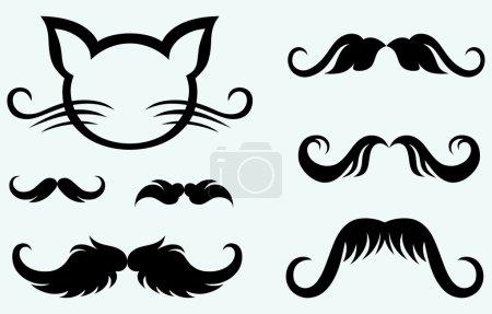 Hand drawn mustache and kitten
