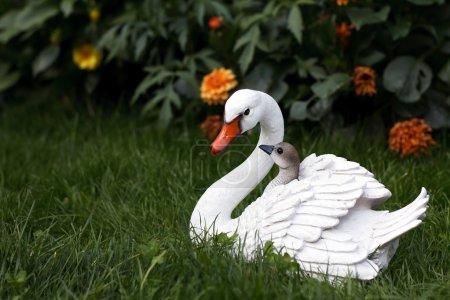 Photo pour Mère de cygne avec figurine de cygnes sur l'herbe verte - image libre de droit