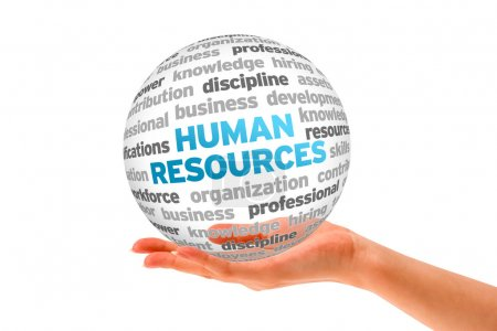 Photo for Hand holding a Human Resources Word Sphere on white background. - Royalty Free Image
