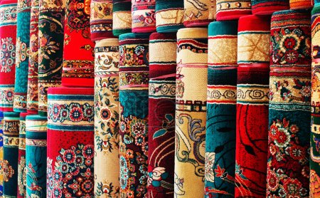 Persian blankets at a market
