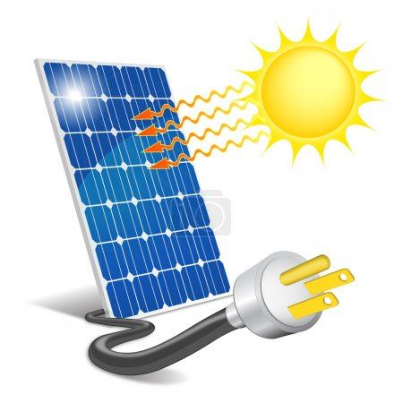 Illustration pour Panneau photovoltaïque exposé au soleil - image libre de droit
