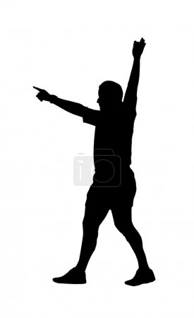 Sport Silhouette - Rugby Football Referee Indicating Foal Play