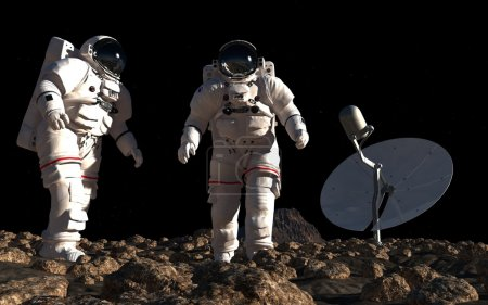 The astronauts on the background of the planet.