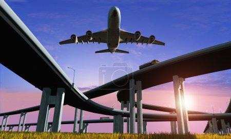 Photo pour Autoroute et l'avion contre le ciel du soir . - image libre de droit