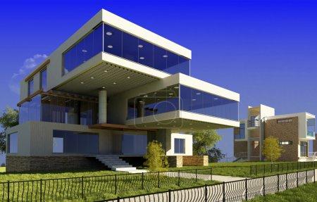 Foto de Moderna casa de campo en un fondo de hierba verde - Imagen libre de derechos