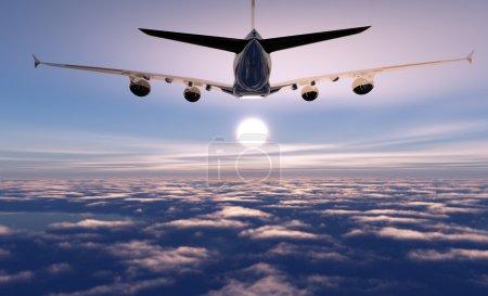 Photo pour Un avion de passagers dans le ciel - image libre de droit