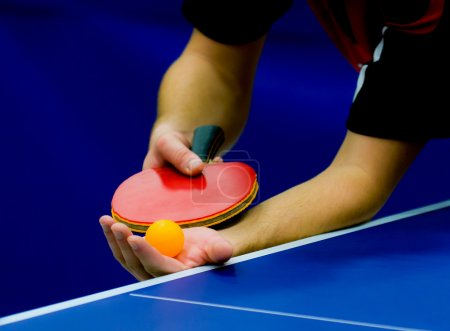 Close up service on table tennis
