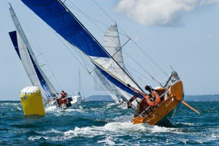 Yacht at race regatta