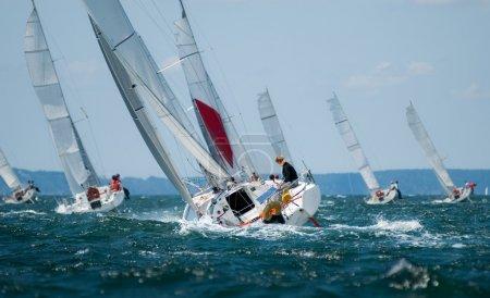 Group of yacht sailing at regatta