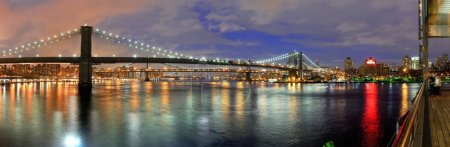 East River at Night in New York