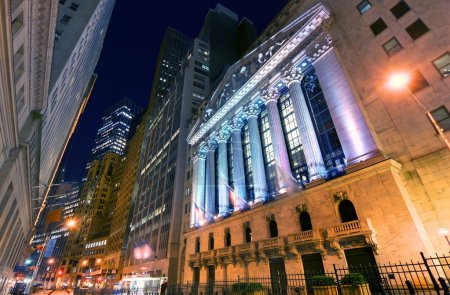 Photo for The New York Stock Exchange at 11 Wall Street, New York, New York, USA. The NYSE is the largest exchange in the world by market Capitalization. - Royalty Free Image