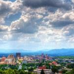 Asheville, North Carolina skyline nestled in the B...