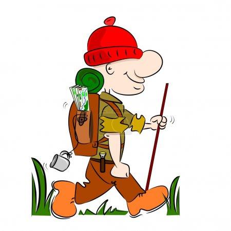 A cartoon hiker rambler going camping with rucksac...