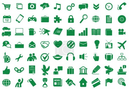 Illustration for Collection of different icons for using in web and interface design - Royalty Free Image