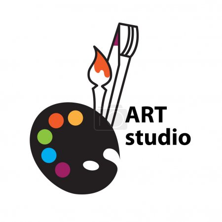 Illustration for Art-studio sign - Vector Brush and Palette Icon - Royalty Free Image