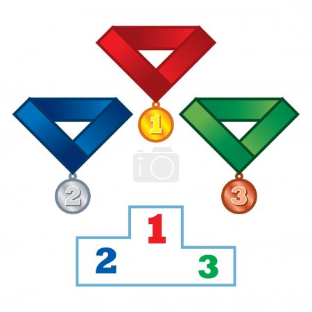 Illustration for Podium and Medals sport game competition winner victory - Royalty Free Image
