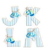 Patchworkové abecedy. písmeno j, k, l, m