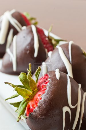 Chocolate covered strawberries closeup