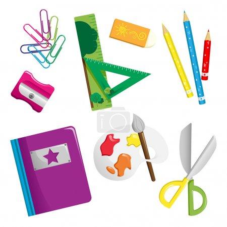 Photo pour Illustration vectorielle des icônes des fournitures scolaires - image libre de droit