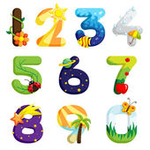 A vector illustration of a set of numbers in fun design
