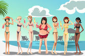 A vector illustration of a large woman and skinny women in bikini