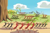 A vector illustration of a colony of ants working together can be used for teamwork concept