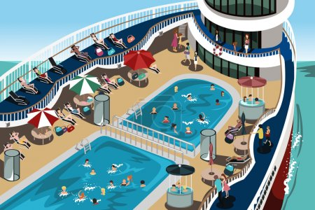 Illustration for A vector illustration of having a good time on their cruise vacation - Royalty Free Image