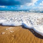 Waves wash over golden sand on Australian beach...