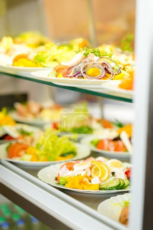 Self service buffet fresh healthy salad selection
