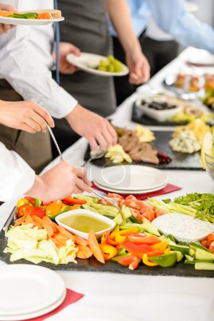Photo for Business catering take buffet food during company event - Royalty Free Image
