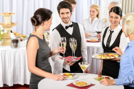 Photo for Catering service at business meeting offer food refreshments to woman - Royalty Free Image
