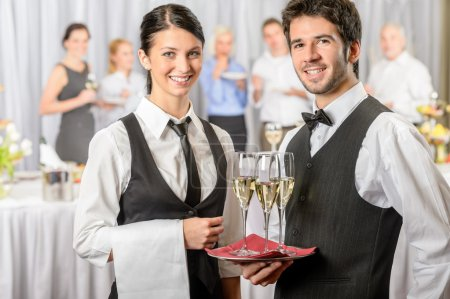 Photo for Professional catering service business event serving drinks to guests - Royalty Free Image