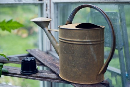 Old fashioned watering can standing in greenhouse