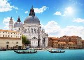 Canal Grande csatornára és a basilica santa maria della salute, Velence, Olaszország
