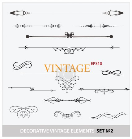 Illustration for Vintage elements sign and borders set for ornate isolated - Royalty Free Image
