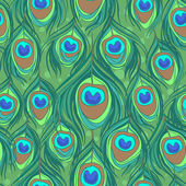 Colorful peacock feather seamless vector pattern