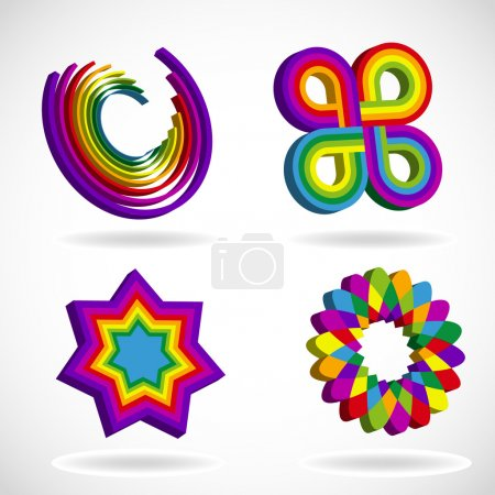 Rainbow colored abstract symbols
