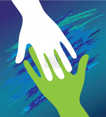 Illustration for Hand of the child in father encouragement help. Support moral. - Royalty Free Image